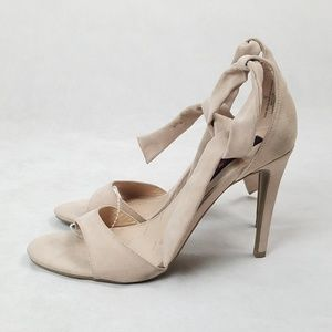 BETSEYVILLE Suede Ankle Wrap Lace Nude Sandal Heel
